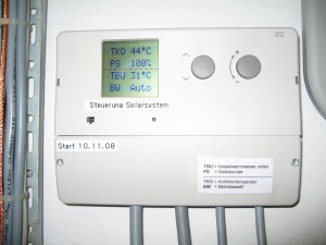 Hot water solar control panel